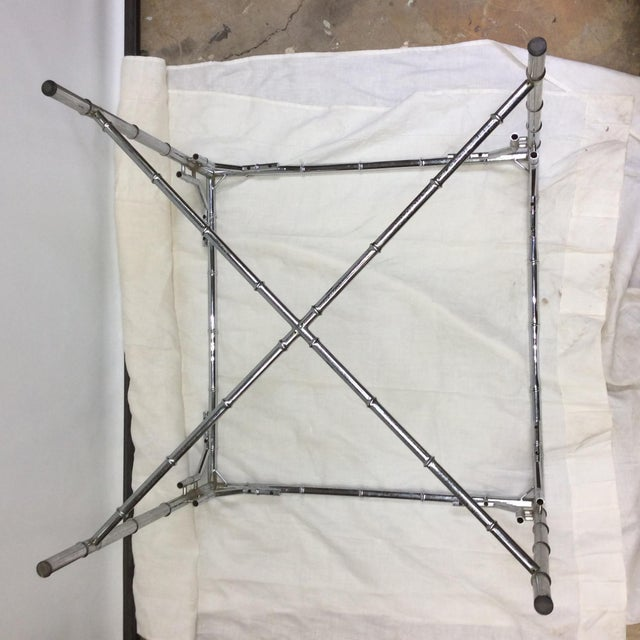 Late 20th Century Chrome Faux Bamboo Card Table Base For Sale - Image 4 of 12