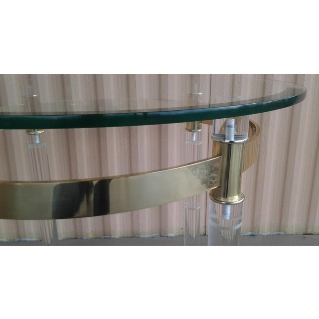Vintage Lucite & Brass Occasional Table in the Manner of Charles Hollis Jones - Image 5 of 6