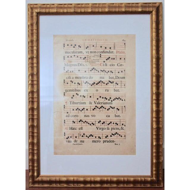Gilt Framed Gregorian Chant Sheet Music