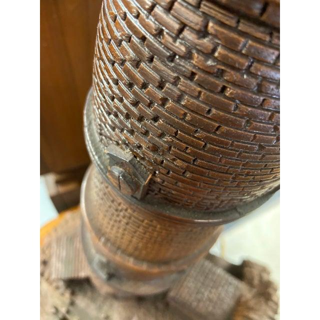 Lighthouse + Village Wood Carved Sculpture For Sale - Image 4 of 13