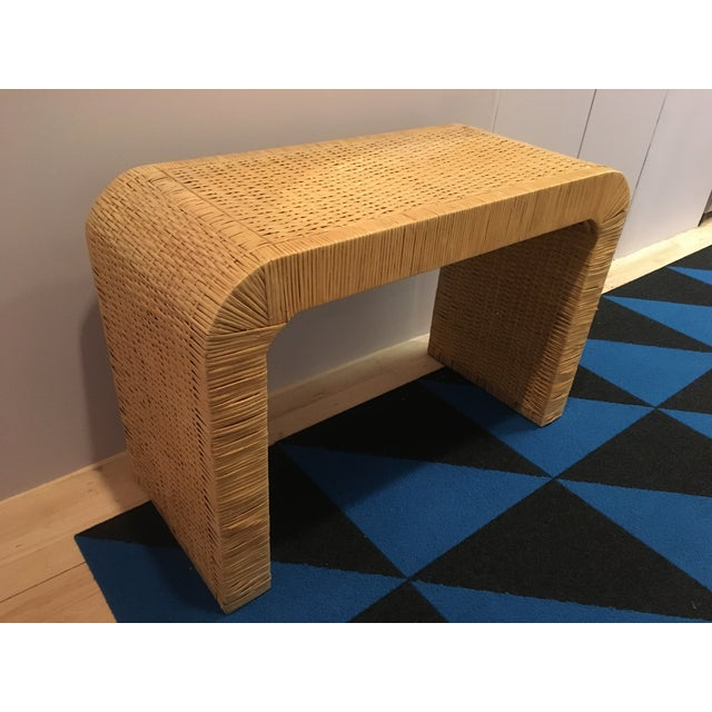 Minimalist Coastal-Style Rattan Console Table For Sale - Image 4 of 12