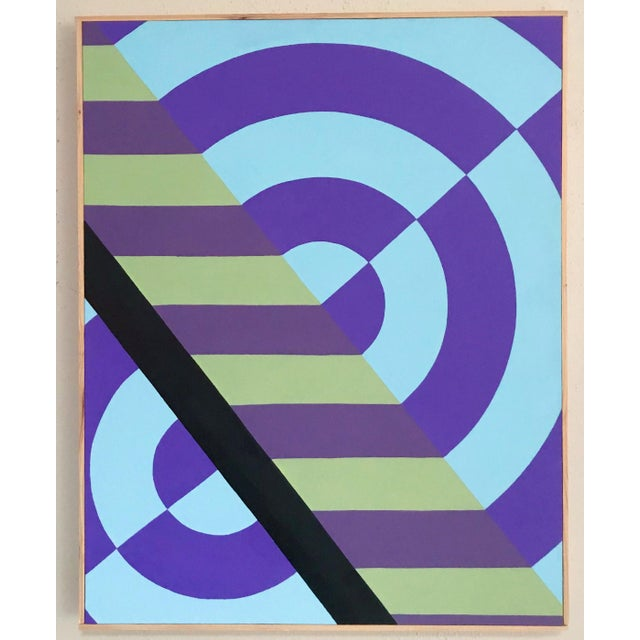 Colorful Hard Edge Abstract Op Art Painting on Canvas by J. Marquis For Sale In Portland, OR - Image 6 of 6