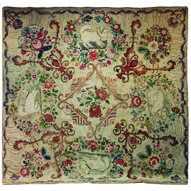 Hooked Rug Room Size With King Charles Spaniels Playing Circa 1860 For Sale In Philadelphia - Image 6 of 6