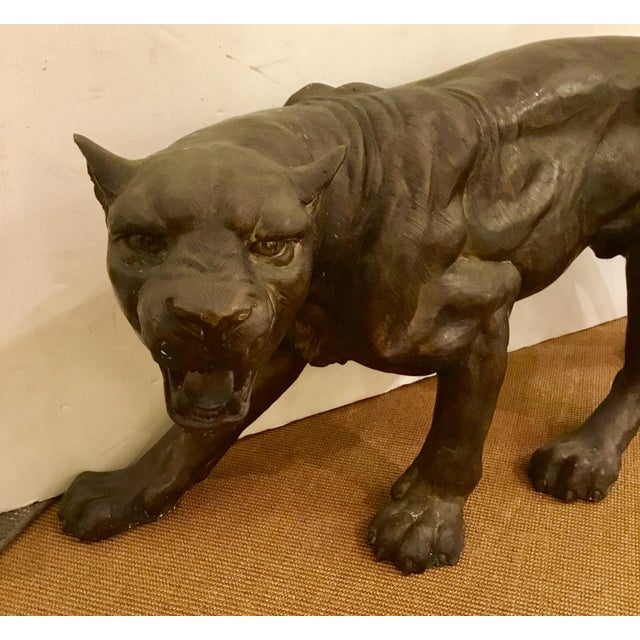 Fierce vintage large bronze sculpture of a cougar, Body is 10 deep but widest point (front paw to back of head ) is 18...