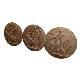 Antiqued Gilt Plaster Bas Relief Roman Inspired Wall Plaque Medallions - Set of 3 For Sale