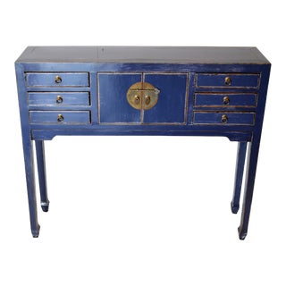 Blue Chinese Lacquer Console