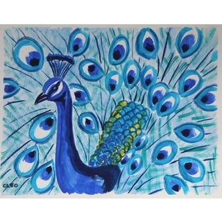 Contemporary Peacock Bird Painting by Cleo Plowden For Sale