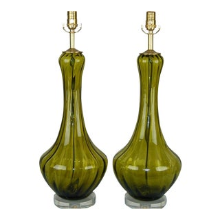 Vintage Italian Glass Petticoat Table Lamps Green For Sale