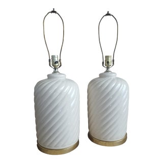 Vintage Modernist Cream Swirl Ceramic and Brass Lamps - a Pair