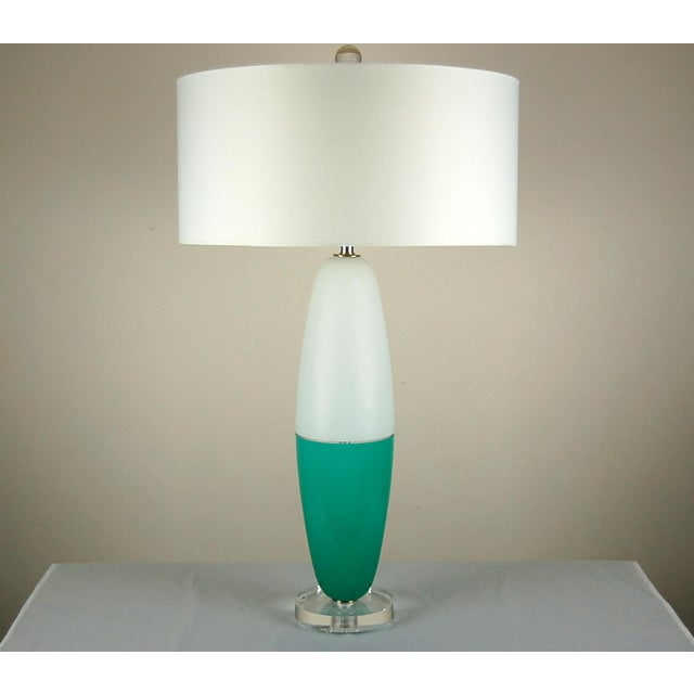 Murano Vintage Murano Glass Capsule Table Lamps in Aqua White For Sale - Image 4 of 10