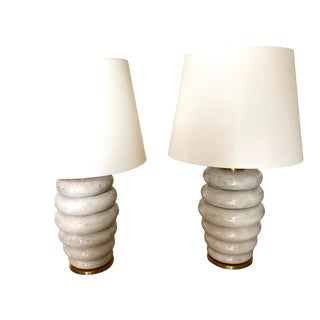 Designer Stacked Glazed Ceramic Table Lamps - a Pair For Sale