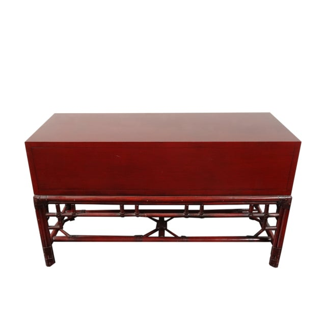 Ficks Reed Red Asian Sideboard Console - Image 10 of 11