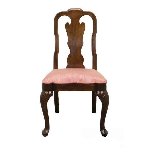 Late 20th Century Vintage Davis Cabinet Masters Collection Solid Mahogany Queen Anne Side Chair For Sale - Image 9 of 9