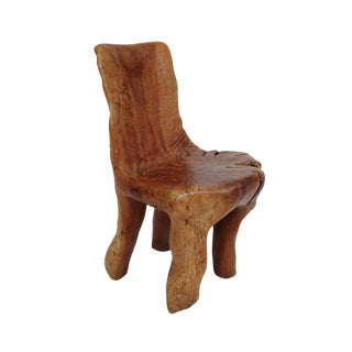 Organic Longan Burl Wood Chair For Sale