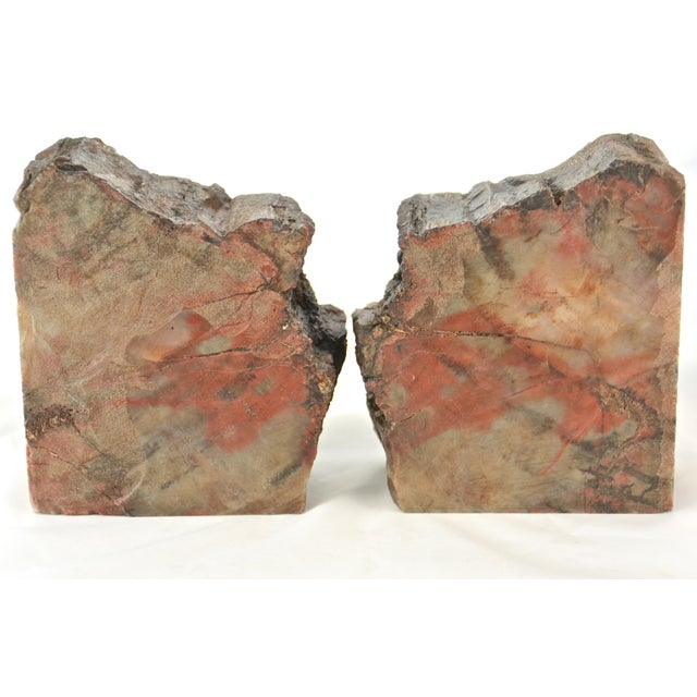 Iron Red Petrified Wood Slice Bookends - A Pair For Sale In Chicago - Image 6 of 8