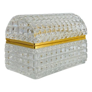 1950s French Baccarat Crystal Box For Sale