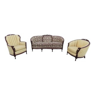 French Heavy Carved 3 Piece Set of Long Sofa Couch His and Her Chairs For Sale