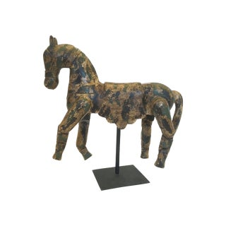 Hand Carved Horse Wrought Iron Stand For Sale