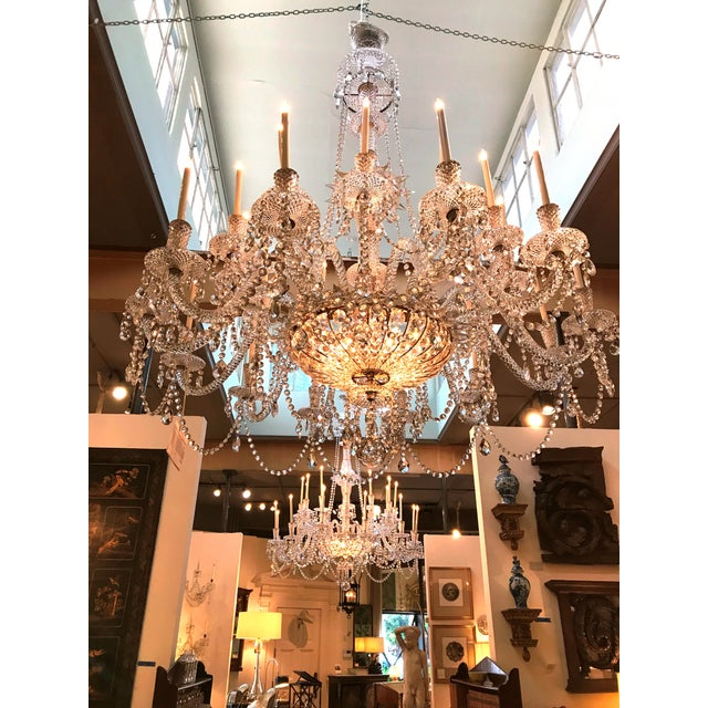 A Pair of Large Scale Majestic 24-Light Cut-Crystal Chandeliers For Sale - Image 10 of 12
