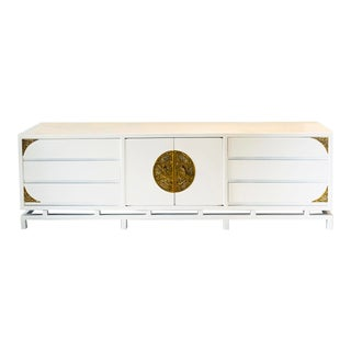 White Lacquered Console/Credenza With Brass Asian Motif Accents For Sale