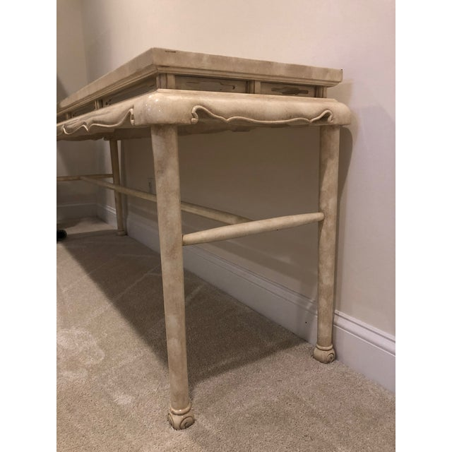 Asian 1970s Hollywood Regency Lacquer Chinoiserie Console Table For Sale - Image 3 of 8