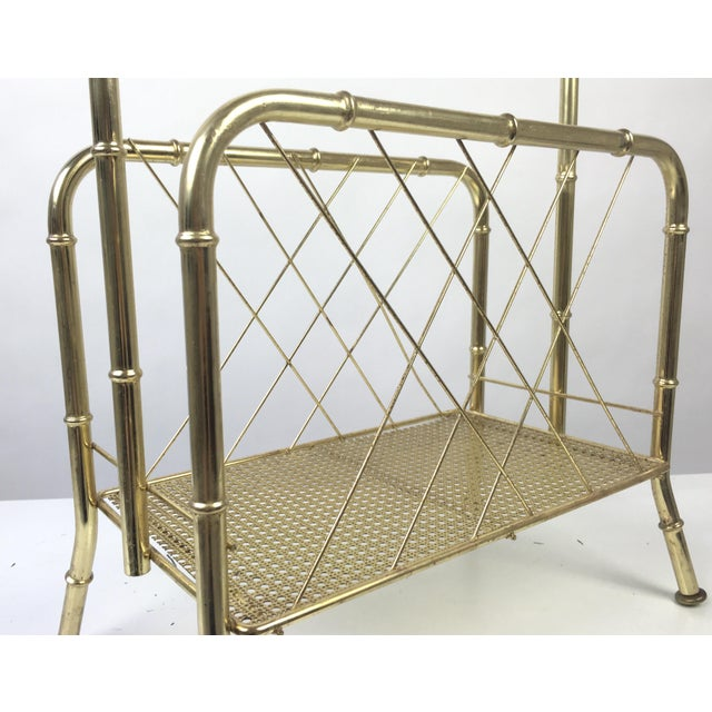 Mid 20th Century Hollywood Regency Faux Bamboo Brass Magazine Rack For Sale - Image 5 of 7