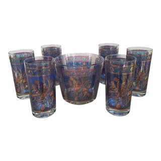 Mid Century Pheasant Highball Glasses & Ice Bucket, 7 Piece For Sale