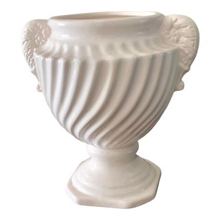 Neoclassical White Ceramic Ribbed Vase With Handles For Sale