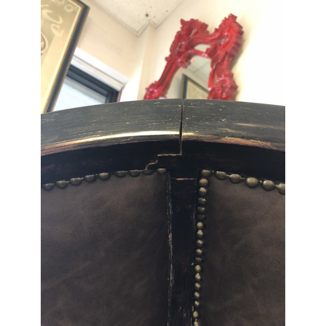 Leatherette Vintage Gothic Revival Balloon Chairs - a Pair For Sale - Image 7 of 9