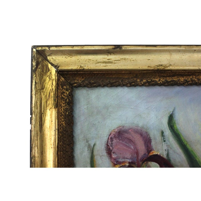 Mid-Century Iris Oil Painting by Jane Cramer For Sale - Image 4 of 8