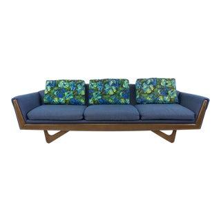 Mid-Century Modern Blue Gondola Sofa For Sale