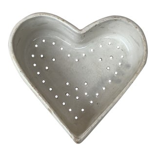 19th Century French White Heart Faience Cheese Mold Creil Et Montereau For Sale