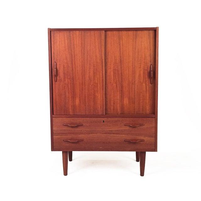 Vintage Teak Cabinet With Sliding Doors For Sale In Seattle - Image 6 of 6
