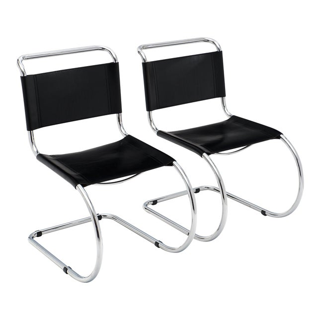 Vintage Mies Van Der Rohe Cantilever Chairs - a Pair For Sale - Image 10 of 10