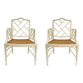 Hollywood Regency Chippendale Style White Lacquered Arm Chairs Pair By: Bungalow 5 For Sale