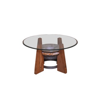 Round Coffee Table With Glass Top For Sale