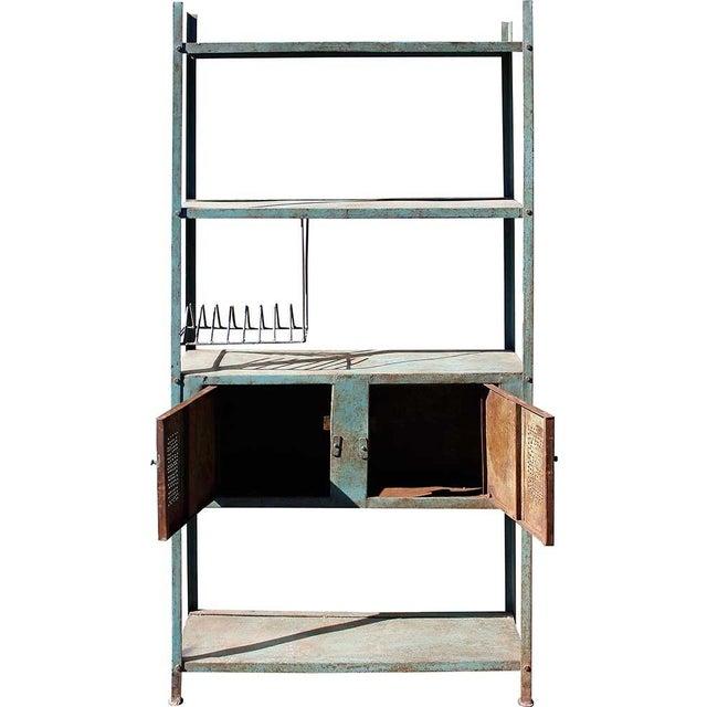 2-Door Blue Vintage Iron Rack - Image 3 of 5