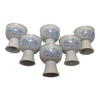 Royal Doulton Blue Flower Goblets - 6 For Sale