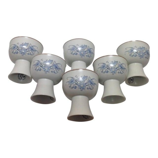 Royal Doulton Blue Flower Goblets - 6 - Image 1 of 6