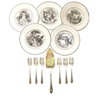 Antique French Transferware Salad or Dessert Service - Set of 12 For Sale