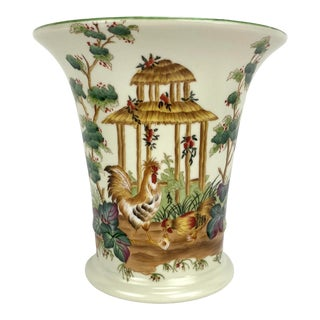 1980s Chinoiserie Porcelain Vase With Roosters and Hens Motif For Sale