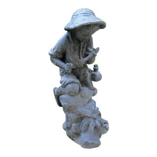 Fishing Boy, Lead Sculpture For Sale