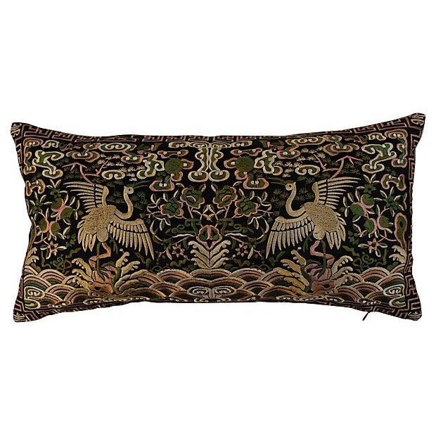 Gold Metallic Silk Crane Boudoir Pillow - Image 5 of 6