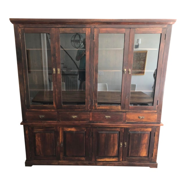Indonesian Glass & Wood Breakfront Bookcase For Sale