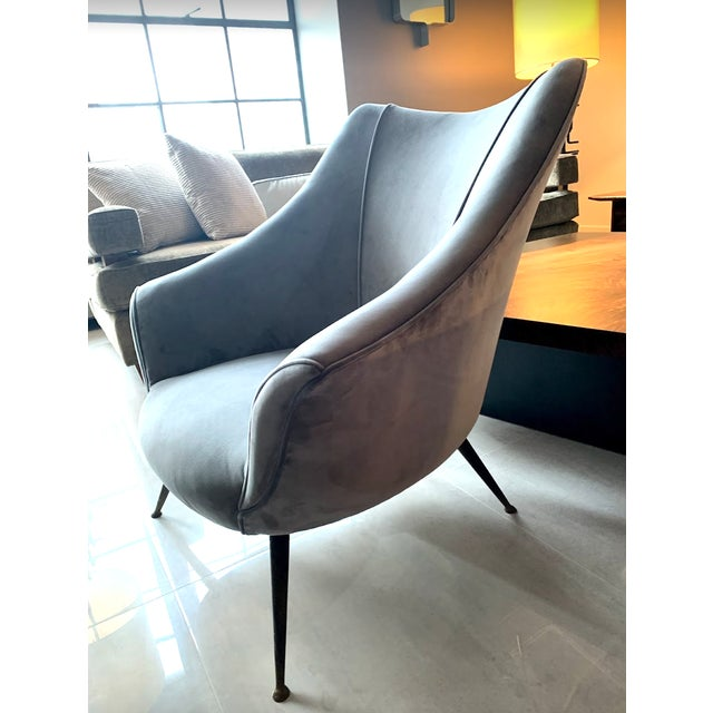 Contemporary 1955 Mid-Century Barrel Shaped Club Chairs, Italy - a Pair For Sale - Image 3 of 5