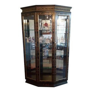 1970s Mid-Century Mastercraft Style Lighted Display Cabinet For Sale