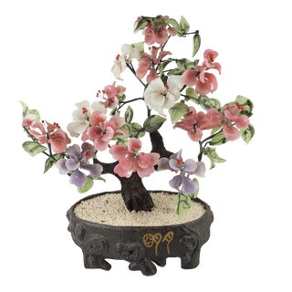 Contemporary Chinese Peking Glass Jade Tree For Sale