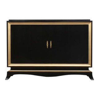 1930s French Lacquer Ebonized Dry-Bar For Sale
