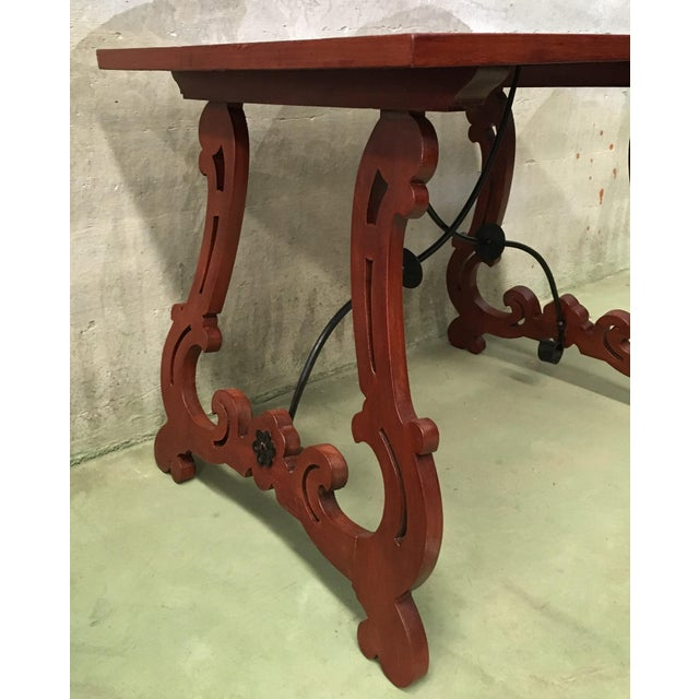 19th Century Baroque Spanish Side Table With Marquetry Top & Lyre Legs For Sale - Image 10 of 13