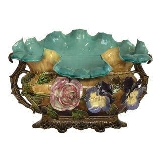19th Century Antique French Majolica Bowl For Sale